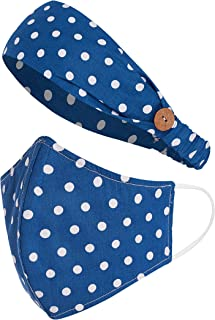 Sole Designs Reusable Washable 100% Cotton 3 Layer Breathable Face Mask With Matching Headband, MV#18 Large