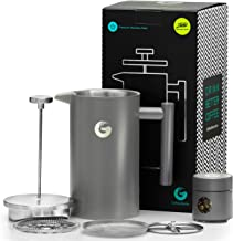 Large French Press Coffee Maker - Vacuum Insulated Stainless Steel, 34 floz, Grey