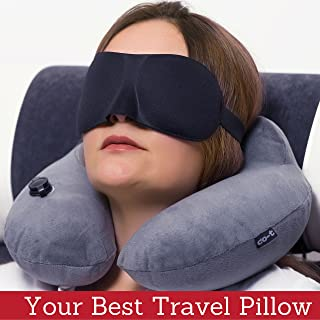 Inflatable Neck Pillow - Inflatable Travel Pillow Set for Airplane - Neck Travel Pillows for Women - Airplane Pillow for Men with Packsack - Soft Velvet Flight Pillow.