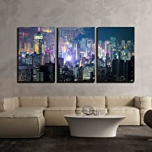 wall26 - 3 Piece Canvas Wall Art - Abstract Futuristic Night Cityscape with Illuminated Skyscrapers - Modern Home Decor Stretched and Framed Ready to Hang - 24