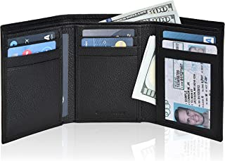 Real Leather Wallets for Men - RFID Blocking Slim Trifold...