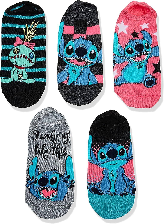 Disney Lilo & Stitch Women's 5 Pack No Show Socks