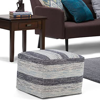 SIMPLIHOME Clay Square Pouf, Footstool, Upholstered in Patterned Blue Melange Hand Woven Cotton, for the Living Room, Bedroom