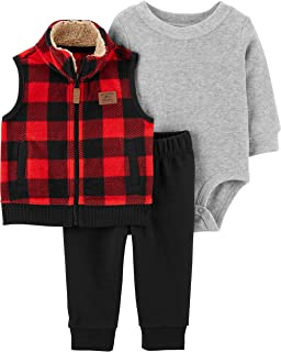 Carter's Baby Boys' 3 Piece Plaid Patch Little Vest Set