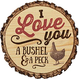 I Love You A Bushel And A Peck Chicken Rustic Bark Look Wood Circle Magnet