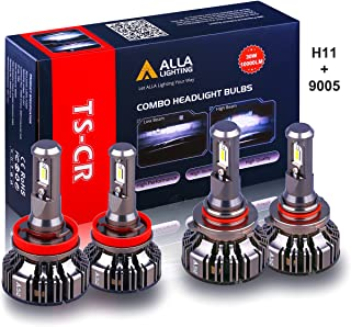 Alla Lighting Combo Xtreme Super Bright 9005/HB3 High Beam H9/H11 Low Beam LED Headlights Conversion Kits Bulbs Replacement, 6000K Xenon White