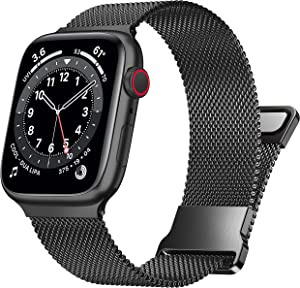UHKZ Compatible with Apple Watch Band 38mm 40mm 42mm 44mm for Women Men,Stainless Steel Milanese Mesh Loop Magnetic Adjustable Strap Replacement for iWatch Series 6/5/4/3/2/1/SE