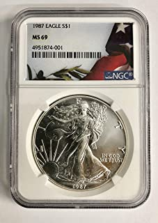 1987 Silver Eagle with Flag Label $1 MS-69 NGC