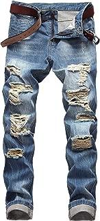 DANT BULUN Men's Ripped Distressed Destroyed Slim Fit Straight Leg Denim Jeans