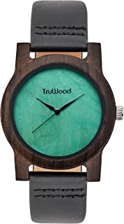 TruWood Leaf Green Wooden Watch with Black Sandalwood and Leather Strap Womens