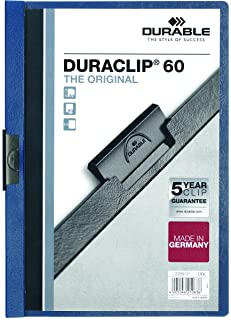 DURABLE Report Cover with DURACLIP, Letter-Size, Holds Up to 60 Pages, Clear Cover/Dark Blue, 25 per Box (221407BX)