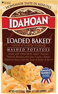 Idahoan Loaded Baked Mashed Potatoes, Made with Gluten-Free 100% Real Idaho Potatoes, 12 (4 Servings) Pouches