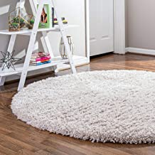 Infinity Collection Solid Shag Round Rug by Rugs.com – Linen 6' x 6' High-Pile Plush Shag Rug Perfect for Dining Rooms, Br...