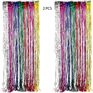 Adorox (2 pc Metallic Rainbow) Metallic Silver Gold Rainbow Photo Backdrop Foil Fringe Curtains Party Wedding Event Decoration