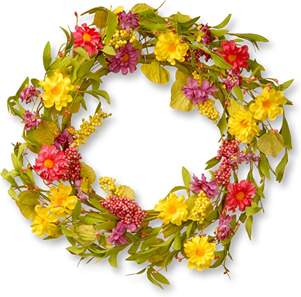 National Tree 20 Inch Floral Wreath With Multicolor Daisy Flowers And Berries RAS JXW8925