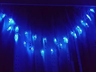 Jaya 30 LED Photo Clips String Lights, Fairy String Lights, Fun and Cute, USB Powered, Romantic Blue Lights - for Bedroom Hanging Photos Pictures Cards