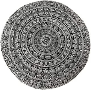 raajsee Black White Walking Elephant Round Beach Tapestry Hippie/Boho Mandala Beach Blanket/Indian Cotton Throw Bohemian Round Table Cloth/Yoga Mat Meditation Picnic Rugs 70 inch Circle/A
