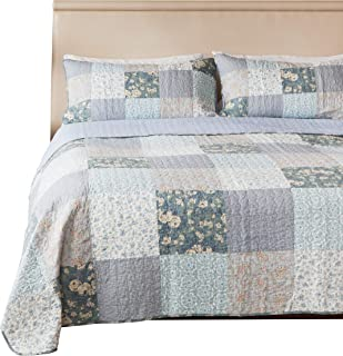 SLPR Wildflowers 2-Piece Patchwork Cotton Bedding Quilt Set - Twin with 1 Sham   Blue Country Quilted Bedspread