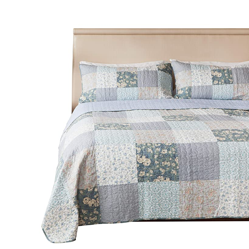 SLPR Wildflowers 3-Piece Real Patchwork Cotton Quilt Set (King) | with 2 Shams Pre-Washed Reversible Machine Washable Lightweight Bedspread Coverlet