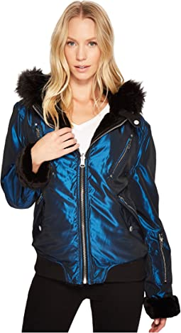Blank NYC - Blue Puffer Jacket w/ Fur Detail in Sailor Moon