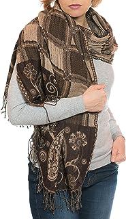 100/% lana disegno Paisley 180 x 70 cm ufash Sciarpa pashmina ricamata a mano ed calda dal Punjab India
