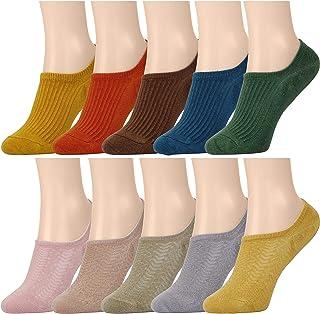 Calcetines Invisibles Mujer 10 Colores Transpirable Algodón Calcetines Cortos Elástco Con Silicona Antideslizante para Niña Juventud EU 35-40 10 pares