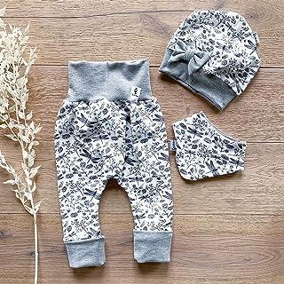 ANGEBOT Set - Hose, Schleifenmütze, Halstuch - Libelle Weiss Grau Hellgrau Melange Baby Mädchen Kleidung SET M 50-74,45-49,M