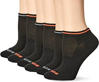 Skechers Women's Non Terry Low Cut Sock 6 Pack, Black/Orange, 9-11