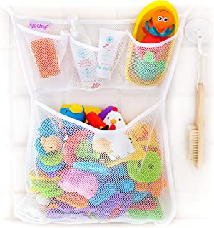 Tub Cubby Bath Toy Organizer + Ducky - Mold Resistant Mesh Net Bin - Baby Bathtub Game Holder with Suction & Sticker Hooks...