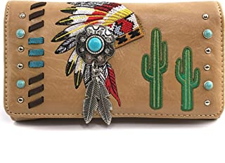 Zelris Native Indian Chieftain Headdress Feather Turquoise Stone Cactus Wallet
