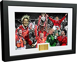 1999 'THE TREBLE' Manchester United Beckham Giggs Sheringham Scholes Keane Solskjaer Schmeichel 12x8 A4 Autographed Signed Photo Photograph Picture Frame Soccer Gift
