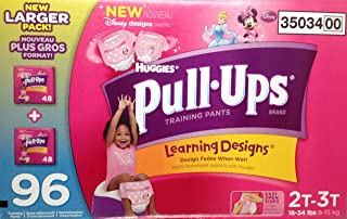 Huggies Pull-ups Girsl Training Pants, Size 2T-3T, 96 Count