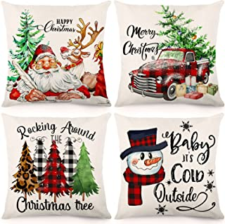 HOLICOLOR Christmas Pillow Covers 18x18 Inch Set of 4 Christmas Decorations Outdoor Farmhouse Throw Pillowcase Watercolor ...