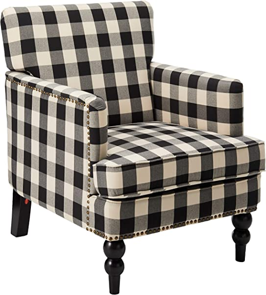Christopher Knight Home 305559 Evete Tufted Fabric Club Chair Black Checkerboard