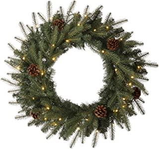 """Glitzhome Pre-lit Christmas Wreath with LED Lights, 24"""" D, Greenery Pine Cone"""