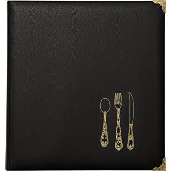 C.R. Gibson Black and Gold Faux Leather Recipe Book With Tabbed Dividers and Sheet Protectors, 11'' W x 11.88'' H