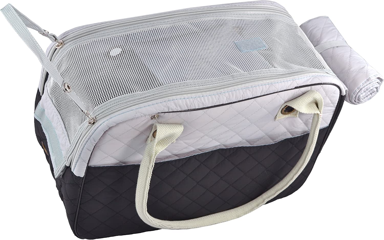 MG Collection Stylish 2 Tone Quilted Soft Sided Travel Dog and Cat Pet Carrier Tote Hand Bag Black