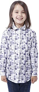 Girls Casual Button Down Shirts Long Sleeve Printed Dress Shirt Age 4 to 20