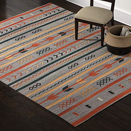 Amazon Brand Stone Beam Casual Geometric Cotton Area Rug 8 X 10 Foot Flatweave Grey Orange Blue Furniture Decor