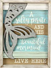 Young's Salty Pirate and Mermaid Live Here Framed Shadow Box Coastal Wall Plaque Sign 16 inches Tall x 12.5 inches Wide