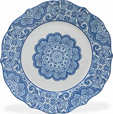 222 Fifth Lyria 16 Piece Porcelain Dinnerware Set with Round Plates: Service for 4,