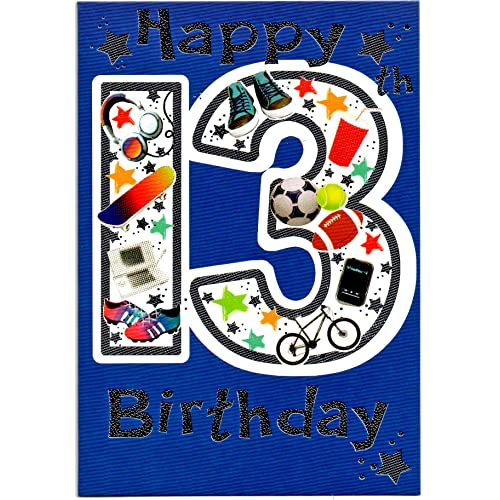 Birthday Card Thirteen 13 Year Old Boy