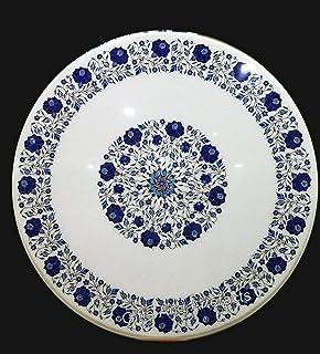Gifts And Artefacts Lapis Lazuli Pierre semi-précieuse incrustée de marbre Table de salle à manger ronde blanche Table de ...