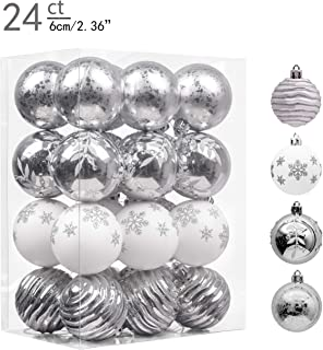 Valery Madelyn 24ct 60mm Frozen Winter Silver White Shatterproof Christmas Ball Ornaments Decoration,Themed with Tree Skirt(Not Included)