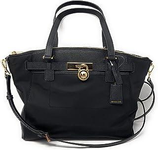 a47fc9d22ab1 Michael Kors Hamilton Nylon Large Top Zip Satchel Shoulder Bag in Black