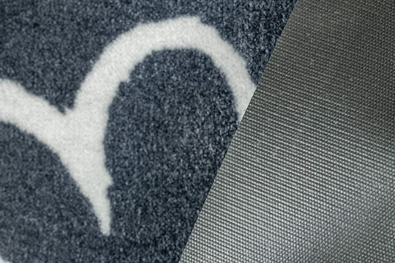 BSM 2000 Zerbino da Interno ed Esterno Vari Modelli Antiscivolo Tappeti Home Heart Grey Lavabile 80 x 40 cm