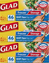 Glad Food Storage and Freezer 2 in 1 Zipper Bags - Quart - 46 Count - 3 pack