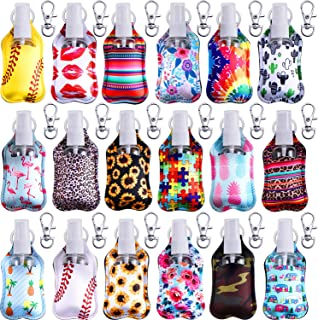 54 Pieces Travel Keychain Bottle Holders Set Include Neoprene Keychain Holder Key Ring Clips and 30 ml Empty Refillable Sp...