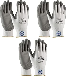 3 Pair Pack Great White 3GX 19-D322 Formerly (19-D622) Cut Resistant Work Gloves, ANSI Cut Level 3,Dyneema/Lycra with Polyurethane Coated Palm and Fingers, Gray/White (Extra Large)