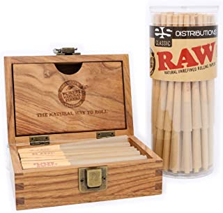 RAW Classic Lean Pre-Rolled Cones with Filter Tips - Bundle (50 Pack and RAW Storage Box)